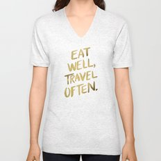 Eat Well Travel Often on Gold Unisex V-Neck