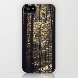 Brown light in the forest iPhone Case