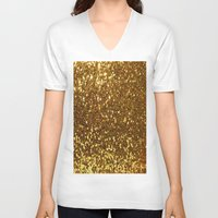 gold glitter V-neck T-shirts featuring GOLD GLITTER by I Love Decor