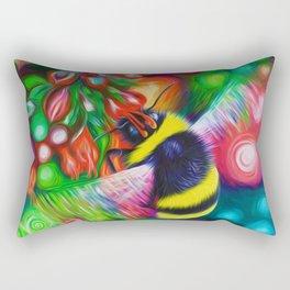Bumblebee and Summer Flowers Rectangular Pillow