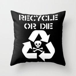 Recycle White Throw Pillow