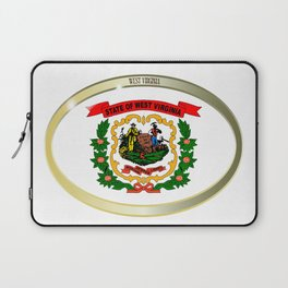 West Virginia State Flag Oval Button Laptop Sleeve