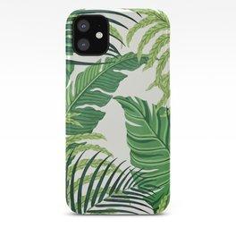 Green tropical leaves II iPhone Case