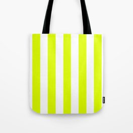 Chartreuse (traditional) yellow - solid color - white vertical lines pattern Tote Bag