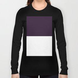 White and Dark Purple Horizontal Halves Long Sleeve T-shirt