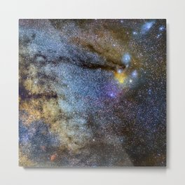The Milky Way and constellations Scorpius, Sagittarius and the super big red star Antares. Metal Print