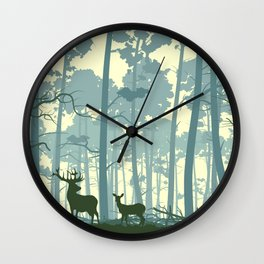 deer and deer in the forest Wall Clock