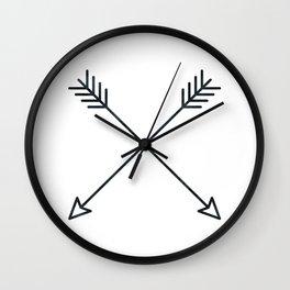 Arrows - Black and White Arrow Adventure Wanderlust Vintage Compass Design Wall Clock