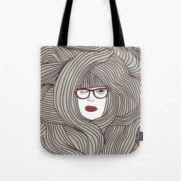 Long Hair Woman Tote Bag