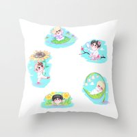shinee Throw Pillows featuring SHINee Flowers by sophillustration