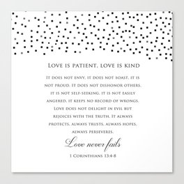 1 Corinthians 13:8 - Love Never Fails - Marriage Bible Wedding Verse Art Print Canvas Print