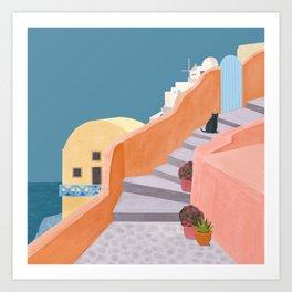 Santorini Pebble Stairs and Houses Art Print