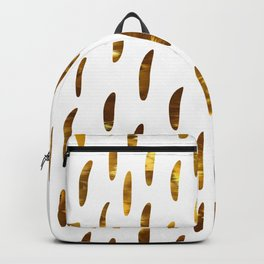 Elegant gold yellow geometrical brushstrokes pattern Backpack