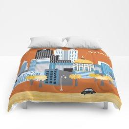 Atlanta, Georgia - Skyline Illustration by Loose Petals Comforters