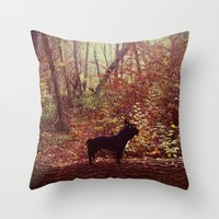 frenchie Throw Pillows featuring Frenchie by Krizan