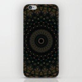 Mandala in black and brown colors iPhone Skin