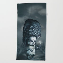 Annie in the Fields of Melancholy Beach Towel