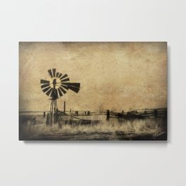 Old Windmill • Sepia • Western • Infrared • Texture Metal Print
