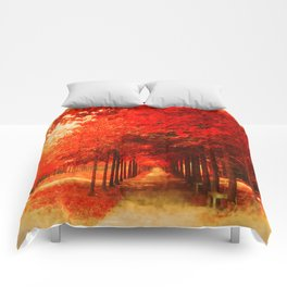 Tree Alley Autumn painted Comforters