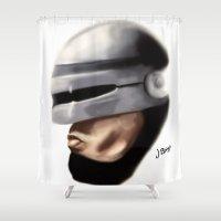 robocop Shower Curtains featuring Robocop. by Jamie Briggs