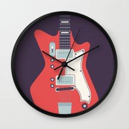 Retro 60s Guitar - Black Wall Clock