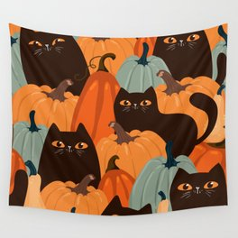 Cute seamless pattern with black cats and pumpkins. Trendy autumn colors. Vintage illustration Wall Tapestry