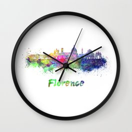 Florence V2 skyline in watercolor Wall Clock