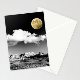 Black Desert Sky & Golden Moon // Red Rock Canyon Las Vegas Mojave Lune Celestial Mountain Range Stationery Cards
