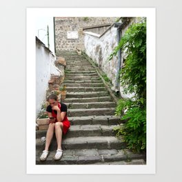A worker on Steps in Hungary Art Print