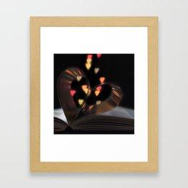 Valentine's Day Book Heart Bokeh Framed Art Print