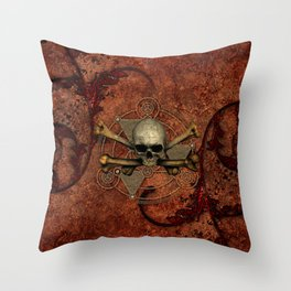 Awesome skull with bones Throw Pillow