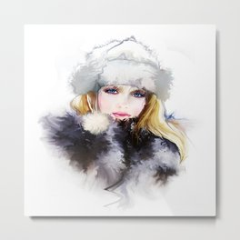 Watercolor Girl Metal Print