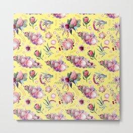 Australian Native Floral Pattern - Protea Flowers Metal Print