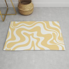 Liquid Swirl Retro Abstract Pattern in Light Yellow and Palest Off-White-Gray Rug