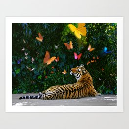 Tiger's Butterfly Friends Art Print