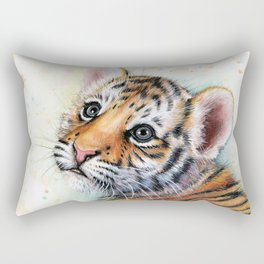 Nursery-Artwork-Tiger-Cub-Baby-Animal-Watercolor-Jungle-Safari-Animals Rectangular Pillow