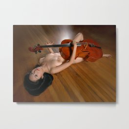 0149-JC Nude Cellist with Her Cello and Bow Naked Young Woman Musician Art Sexy Erotic Sweet Sensual Metal Print