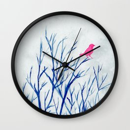 Perching bird on winter tree Wall Clock