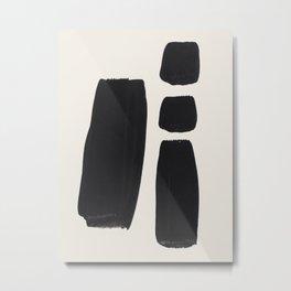 Mid Century Modern Minimalist Abstract Art Brush Strokes Black & White Ink Art Square Shapes Metal Print