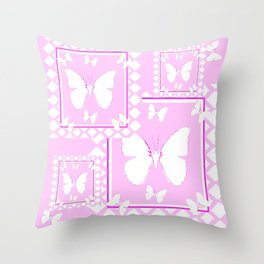 WHITE BUTTERFLIES PINK PATTERNED  ART Throw Pillow