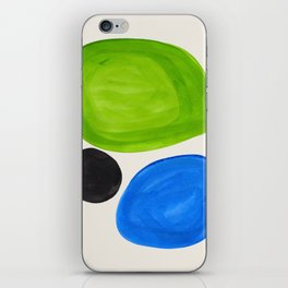 Mid Century Modern Retro Minimalist Colorful Shapes Phthalo Blue Lime Green Native Pebbles iPhone Skin