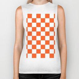 Cheerful Orange Checkerboard Biker Tank