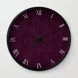 Dark purple leather sheet textured abstract Wall Clock