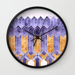 Turtle Shell Geometric | Art Deco | Purple & Gold Wall Clock