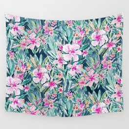 LUSH OLEANDER Tropical Watercolor Floral Wall Tapestry