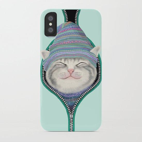 Cat in the zip iPhone Case