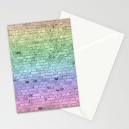Light Pastel Ombre Shaded Rainbow Colors Brick Wall Stationery Cards