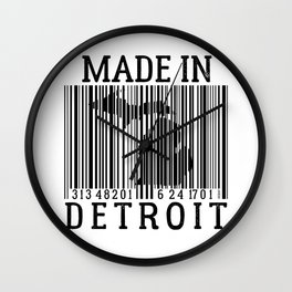 MADE IN DETROIT Bar Code Wall Clock