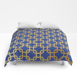 Gold interlinked squares Comforters