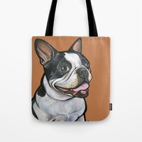 snoopy Tote Bags featuring Snoopy the Boston Terrier by Pawblo Picasso